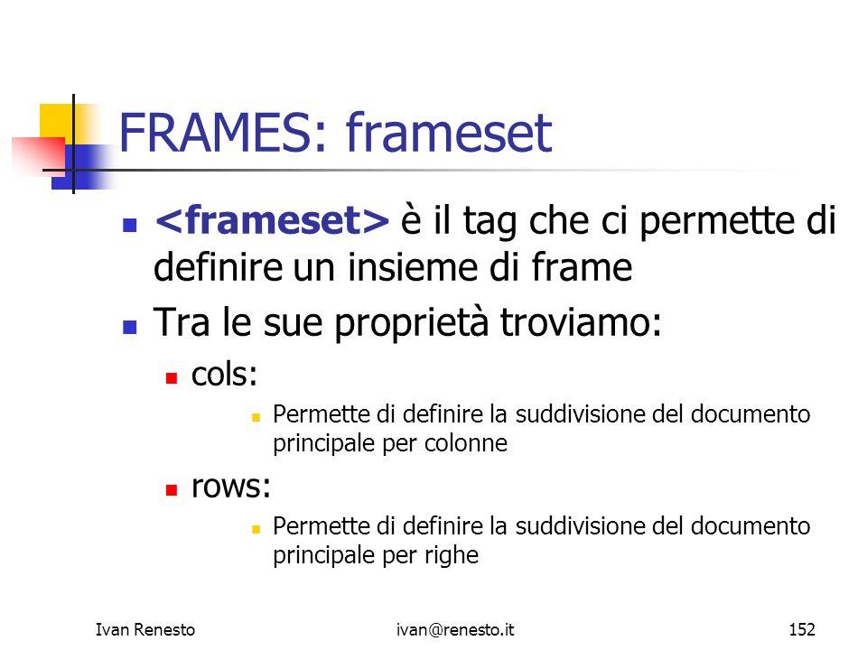 Ivan Renestoivan@renesto.it152 FRAMES: frameset è il tag che ci permette di definire un insieme di frame Tra le sue proprietà troviamo: cols: Permette