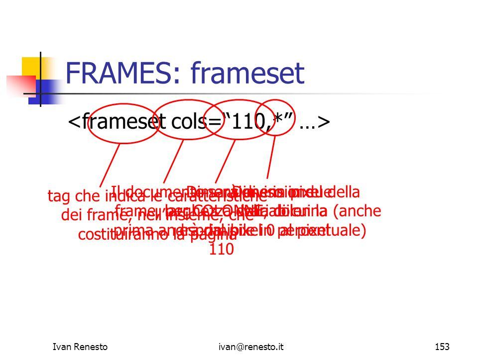 Ivan Renestoivan@renesto.it153 FRAMES: frameset tag che indica le caratteristiche dei frame, nellinsieme, che costituiranno la pagina Il documento sar