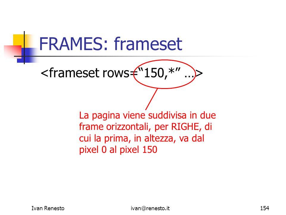 Ivan Renestoivan@renesto.it154 FRAMES: frameset La pagina viene suddivisa in due frame orizzontali, per RIGHE, di cui la prima, in altezza, va dal pix