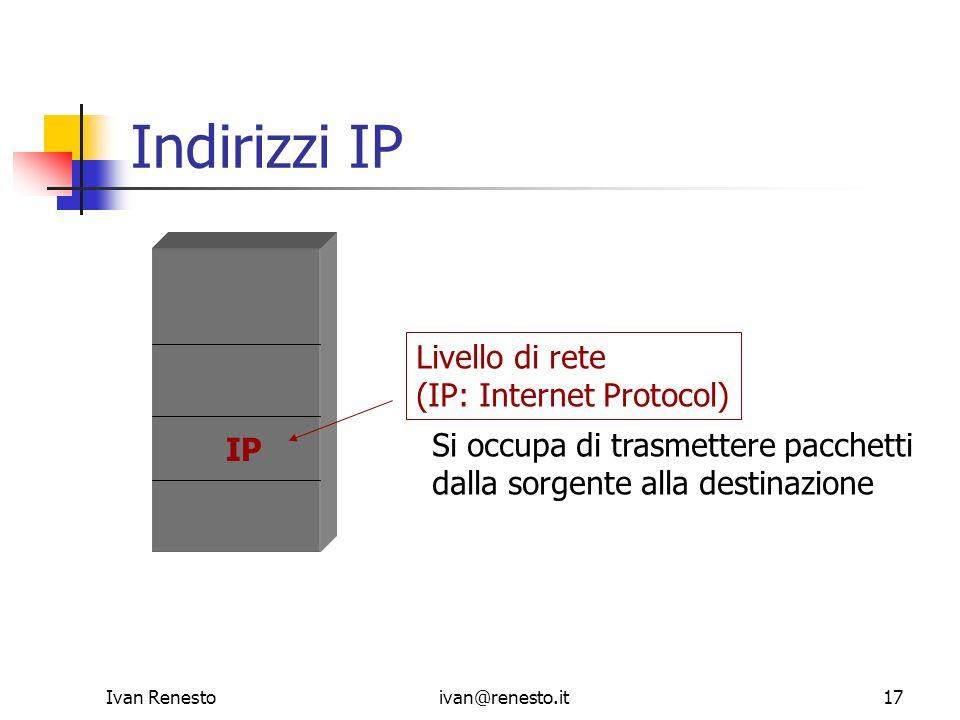 Ivan Renestoivan@renesto.it17 IP Indirizzi IP Livello di rete (IP: Internet Protocol) Si occupa di trasmettere pacchetti dalla sorgente alla destinazi