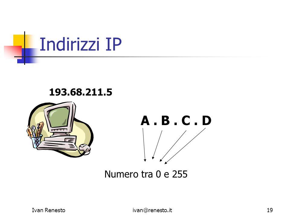Ivan Renestoivan@renesto.it19 Indirizzi IP A. B. C. D Numero tra 0 e 255 193.68.211.5
