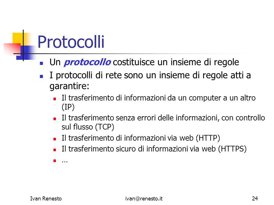 Ivan Renestoivan@renesto.it24 Protocolli Un protocollo costituisce un insieme di regole I protocolli di rete sono un insieme di regole atti a garantir
