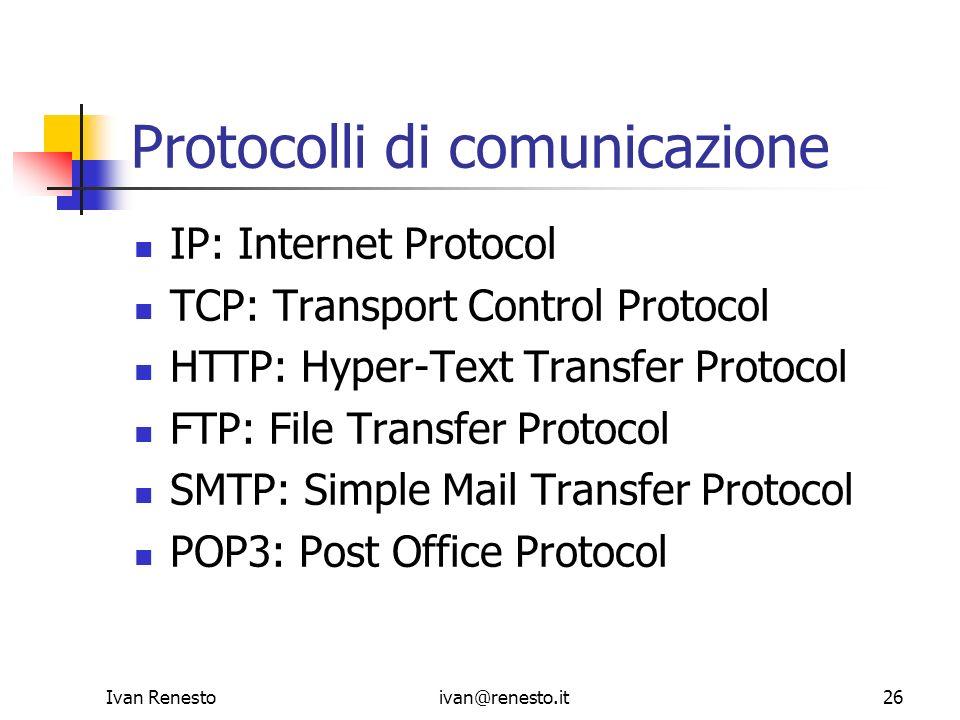 Ivan Renestoivan@renesto.it26 Protocolli di comunicazione IP: Internet Protocol TCP: Transport Control Protocol HTTP: Hyper-Text Transfer Protocol FTP