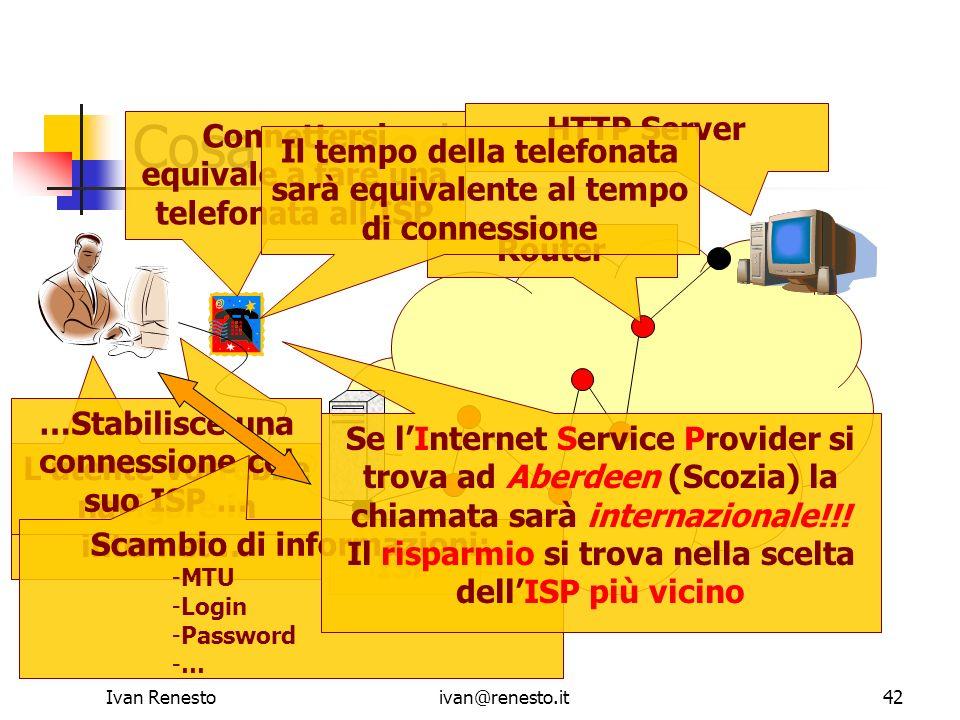 Ivan Renestoivan@renesto.it42 Cosa succede HTTP Server Router ISP Lutente vorrebbe navigare in internet … …Stabilisce una connessione col suo ISP … Sc