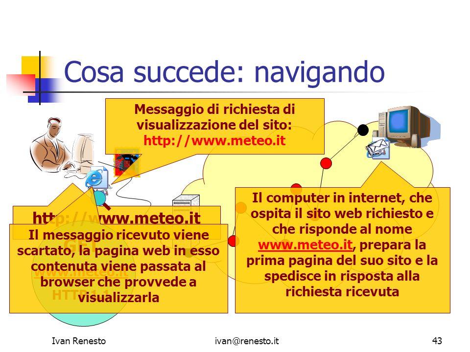 Ivan Renestoivan@renesto.it43 Cosa succede: navigando http://www.meteo.it Messaggio di richiesta di visualizzazione del sito: http://www.meteo.it GET