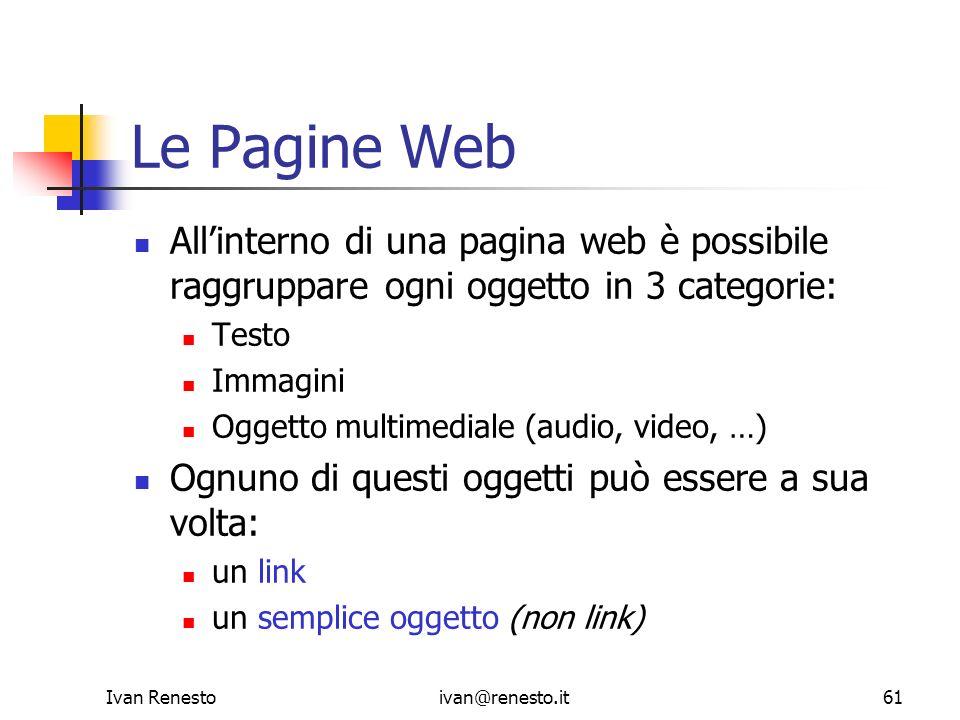 Ivan Renestoivan@renesto.it61 Le Pagine Web Allinterno di una pagina web è possibile raggruppare ogni oggetto in 3 categorie: Testo Immagini Oggetto m