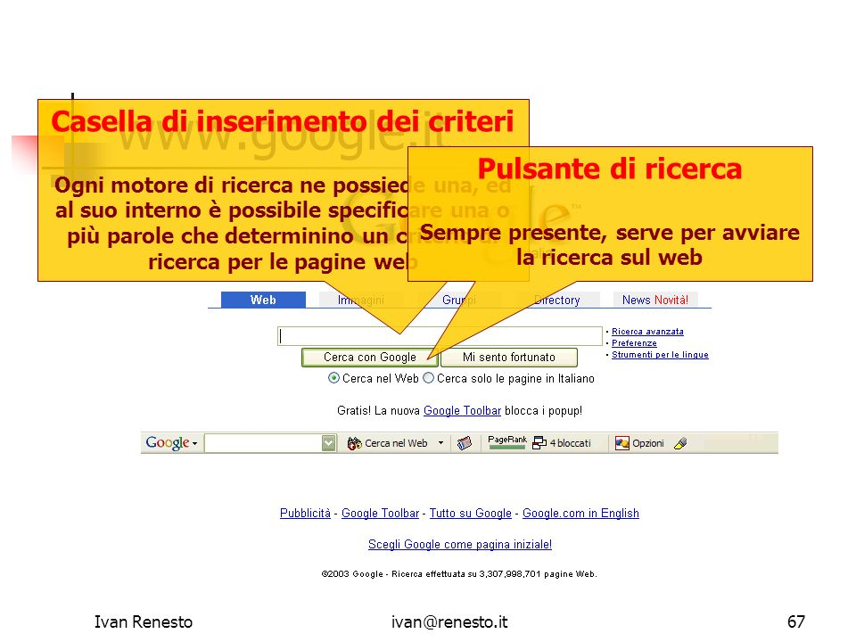Ivan Renestoivan@renesto.it67 www.google.it Casella di inserimento dei criteri Ogni motore di ricerca ne possiede una, ed al suo interno è possibile s