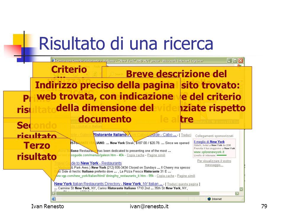 Ivan Renestoivan@renesto.it79 Risultato di una ricerca Criterio utilizzato nella ricerca Risultati della ricerca Primo risultato Secondo risultato Ter