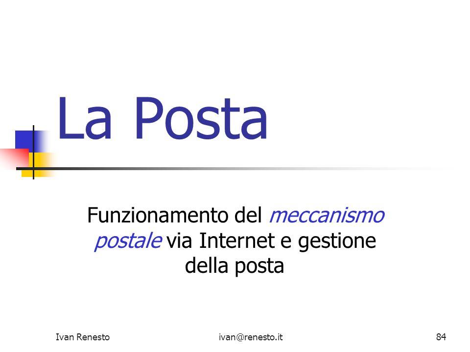 Ivan Renestoivan@renesto.it84 La Posta Funzionamento del meccanismo postale via Internet e gestione della posta