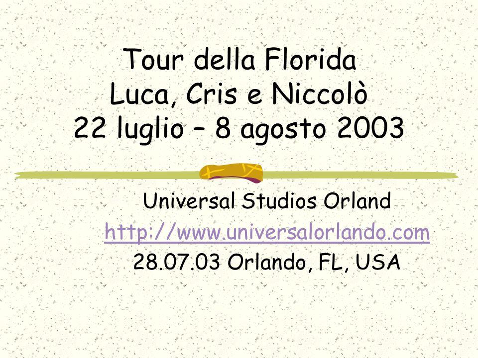 Tour della Florida Luca, Cris e Niccolò 22 luglio – 8 agosto 2003 Universal Studios Orland http://www.universalorlando.com 28.07.03 Orlando, FL, USA
