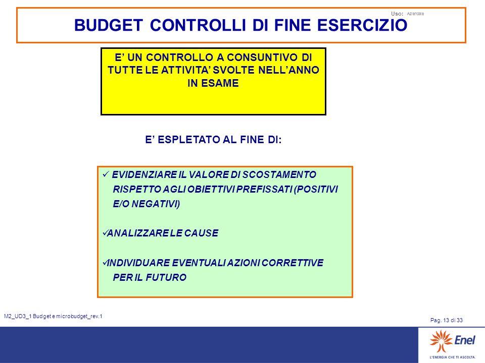 Uso: Aziendale Pag. 13 di 33 M2_UD3_1 Budget e microbudget_rev.1 BUDGET CONTROLLI DI FINE ESERCIZIO E UN CONTROLLO A CONSUNTIVO DI TUTTE LE ATTIVITA S