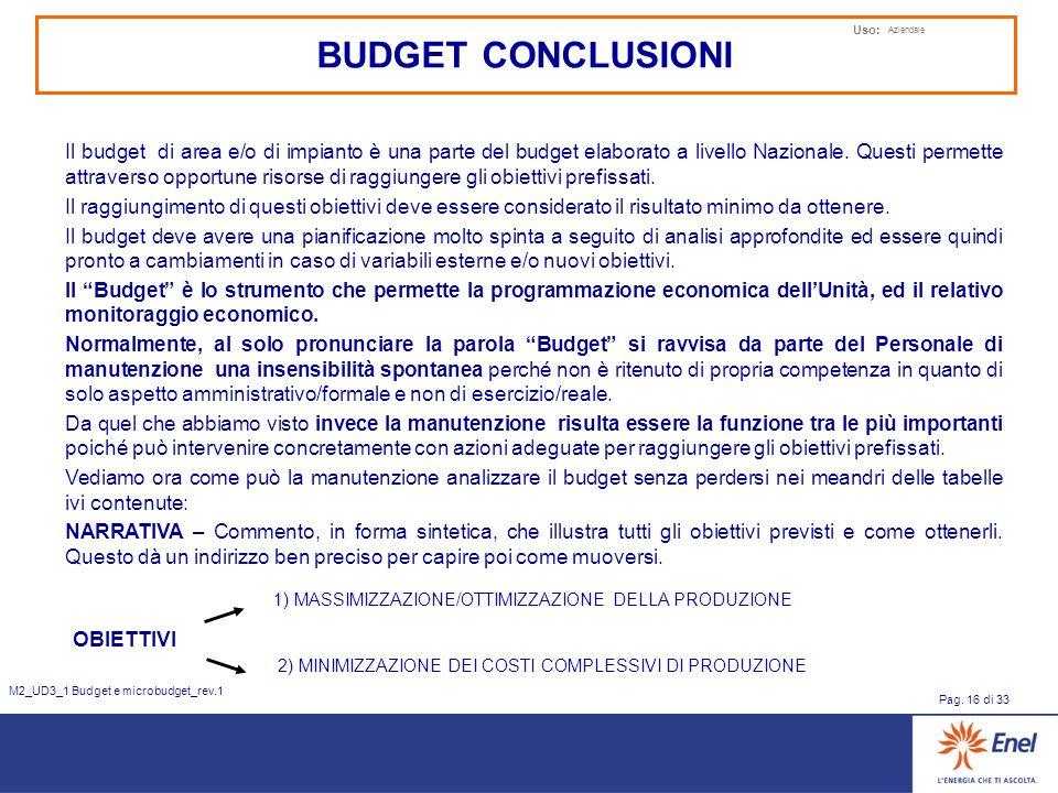 Uso: Aziendale Pag. 16 di 33 M2_UD3_1 Budget e microbudget_rev.1 BUDGET CONCLUSIONI Il budget di area e/o di impianto è una parte del budget elaborato