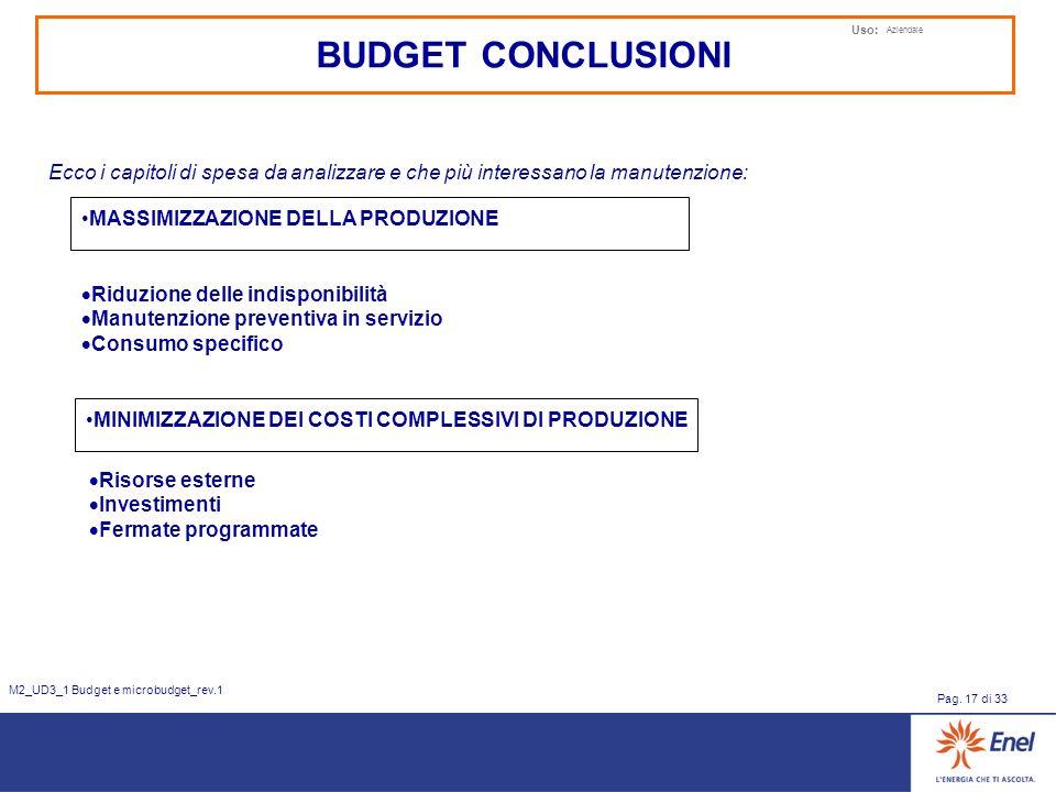 Uso: Aziendale Pag. 17 di 33 M2_UD3_1 Budget e microbudget_rev.1 MASSIMIZZAZIONE DELLA PRODUZIONE Riduzione delle indisponibilità Manutenzione prevent