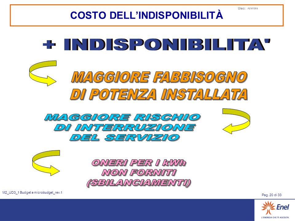 Uso: Aziendale Pag. 20 di 33 M2_UD3_1 Budget e microbudget_rev.1 COSTO DELLINDISPONIBILITÀ