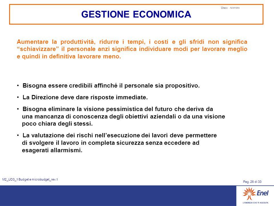 Uso: Aziendale Pag. 26 di 33 M2_UD3_1 Budget e microbudget_rev.1 GESTIONE ECONOMICA Aumentare la produttività, ridurre i tempi, i costi e gli sfridi n