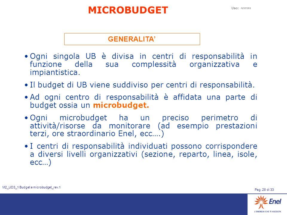 Uso: Aziendale Pag. 28 di 33 M2_UD3_1 Budget e microbudget_rev.1 Ogni singola UB è divisa in centri di responsabilità in funzione della sua complessit
