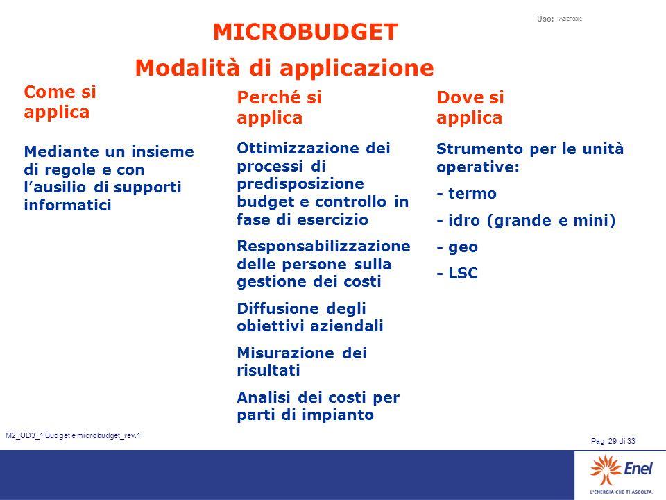 Uso: Aziendale Pag. 29 di 33 M2_UD3_1 Budget e microbudget_rev.1 Modalità di applicazione Come si applica Mediante un insieme di regole e con lausilio