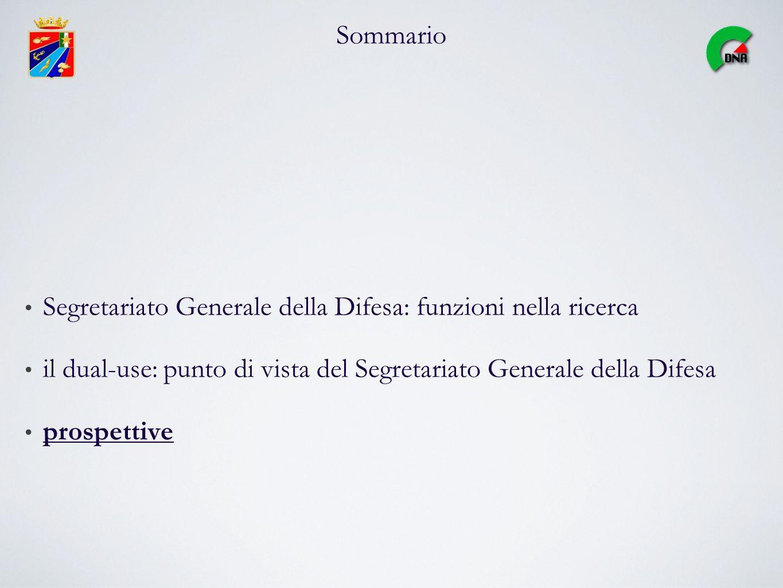 Sommario Segretariato Generale della Difesa: funzioni nella ricerca il dual-use: punto di vista del Segretariato Generale della Difesa prospettive