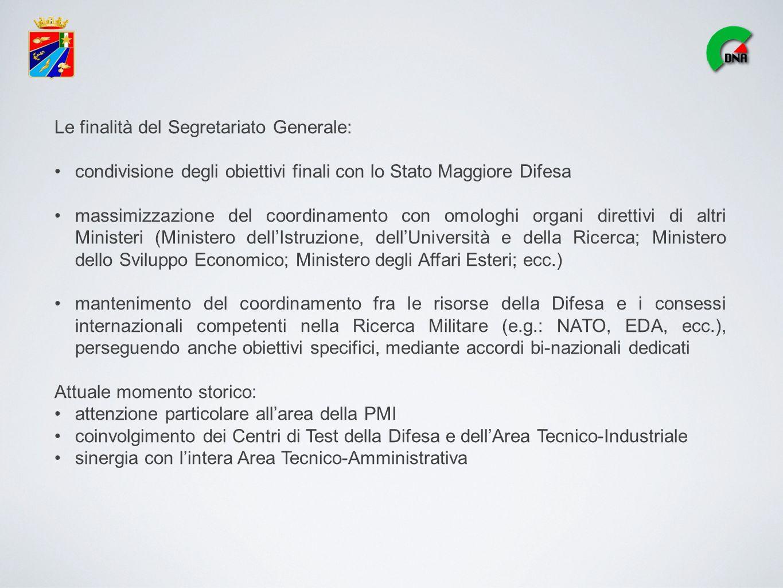 Le finalità del Segretariato Generale: condivisione degli obiettivi finali con lo Stato Maggiore Difesa massimizzazione del coordinamento con omologhi