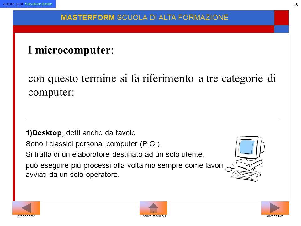 Autore: prof. Salvatore Basile 9 MASTERFORM SCUOLA DI ALTA FORMAZIONE Tipi di computer Classificazione dei computer Microcomputer Laptop Notebook Penb