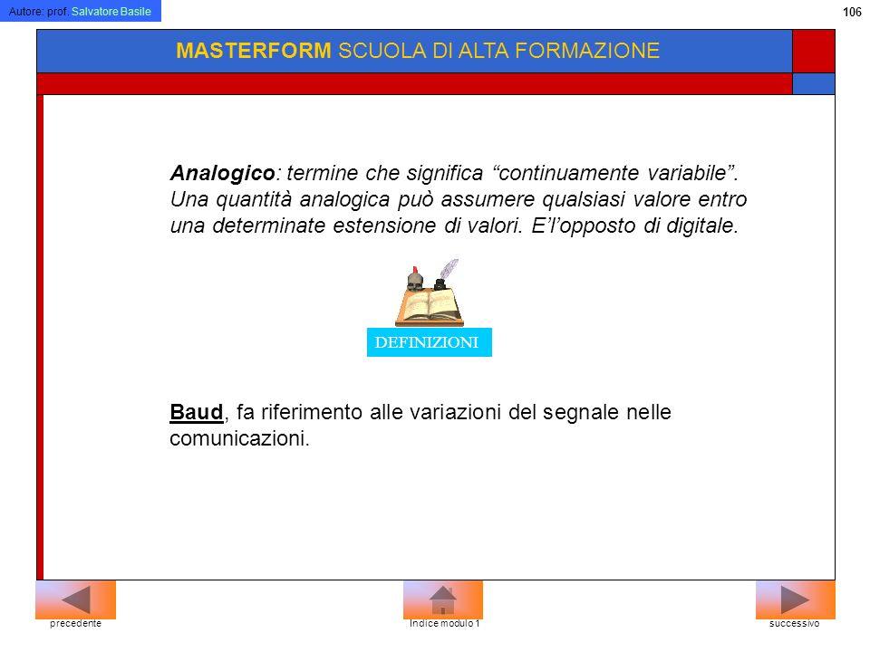 Autore: prof. Salvatore Basile 105 MASTERFORM SCUOLA DI ALTA FORMAZIONE Oltre alla classica rete telefonica commutata (PSTN-Public Switched Telephone