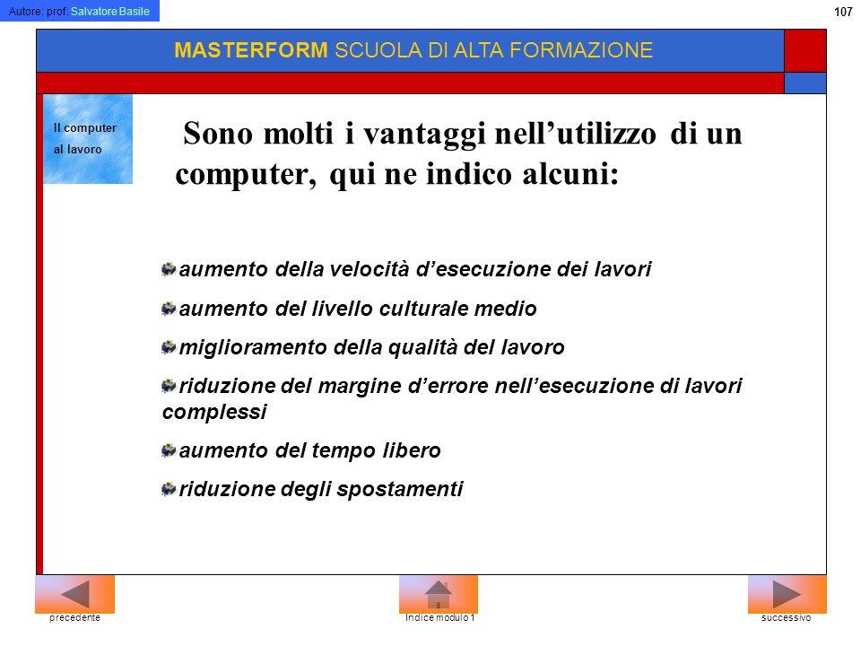 Autore: prof. Salvatore Basile 106 MASTERFORM SCUOLA DI ALTA FORMAZIONE successivoprecedenteIndice modulo 1 DEFINIZIONI Baud, fa riferimento alle vari