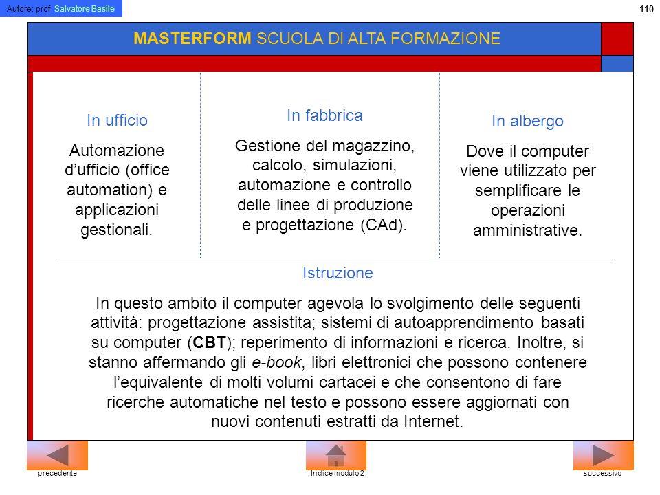Autore: prof. Salvatore Basile 109 MASTERFORM SCUOLA DI ALTA FORMAZIONE In biblioteca I vantaggi che offre lutilizzo del computer in questo ambito son
