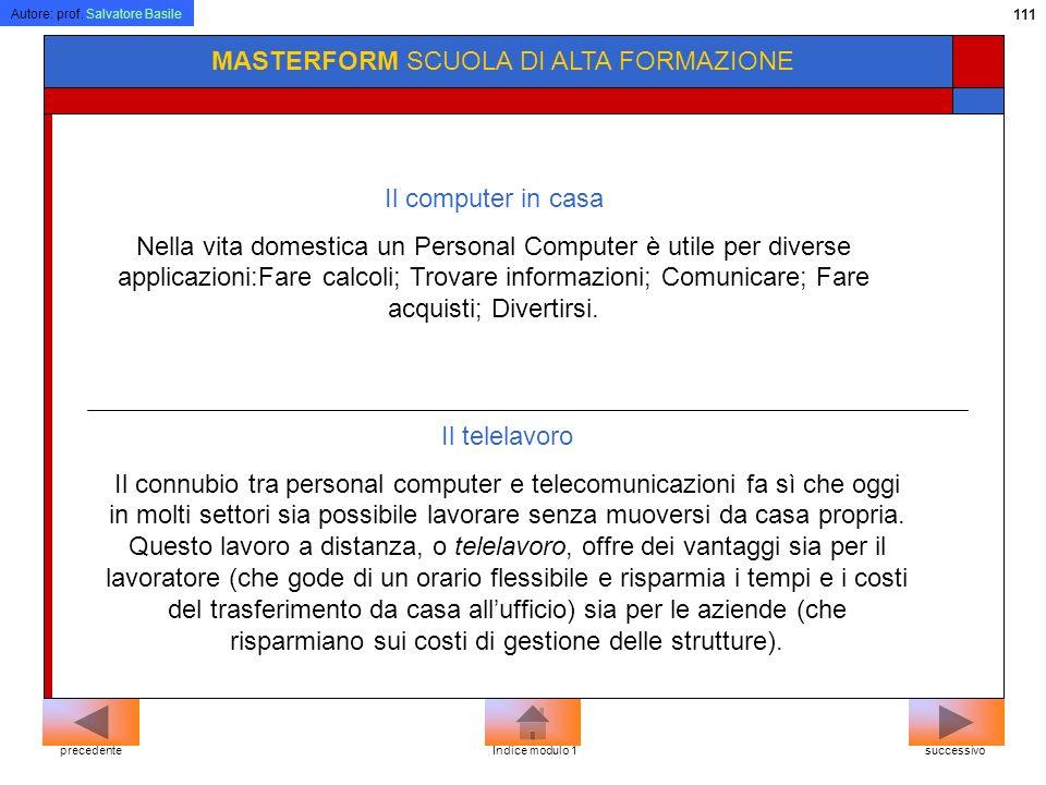 Autore: prof. Salvatore Basile 110 MASTERFORM SCUOLA DI ALTA FORMAZIONE successivoprecedenteIndice modulo 2 In ufficio Automazione dufficio (office au
