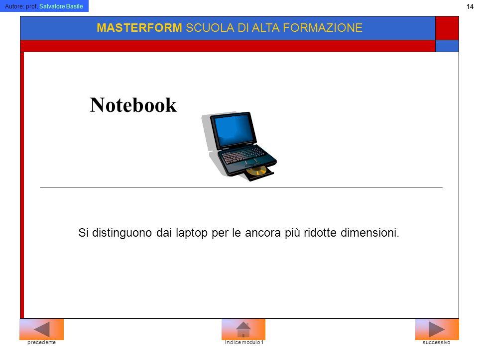 Autore: prof. Salvatore Basile 13 MASTERFORM SCUOLA DI ALTA FORMAZIONE Laptop Sono detti anche portatili, per la loro facilità di trasporto. successiv