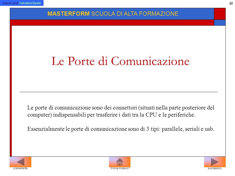 Autore: prof. Salvatore Basile 21 MASTERFORM SCUOLA DI ALTA FORMAZIONE Le Periferiche Sono i dispositivi che permettono al PC di comunicare con lester
