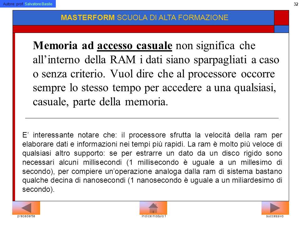 Autore: prof. Salvatore Basile 31 MASTERFORM SCUOLA DI ALTA FORMAZIONE Memoria La RAM (Random Access Memory, o memoria ad accesso casuale) è la memori
