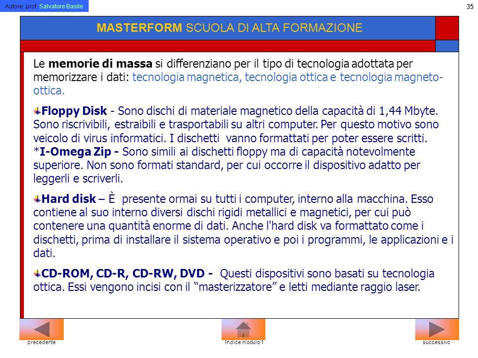 Autore: prof. Salvatore Basile 34 MASTERFORM SCUOLA DI ALTA FORMAZIONE Ogni volta che è acceso, il computer esegue un piccolo programma contenuto nell