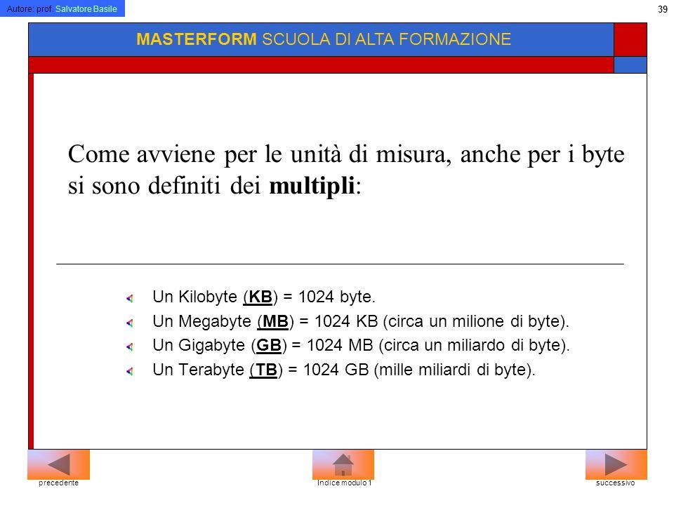 Autore: prof. Salvatore Basile 38 MASTERFORM SCUOLA DI ALTA FORMAZIONE In concreto un singolo byte può rappresentare una lettera dellalfabeto, un segn