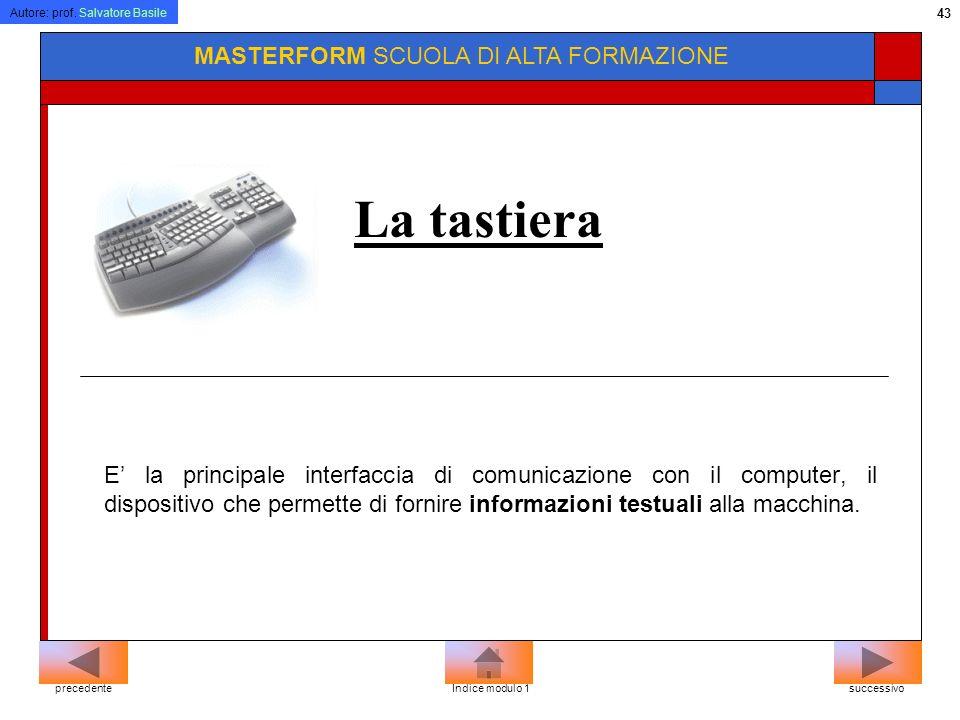 Autore: prof. Salvatore Basile 42 MASTERFORM SCUOLA DI ALTA FORMAZIONE Il touchpad Solitamente usato sui PC portatili, è costituito da una piccola sup