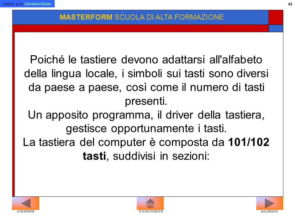 Autore: prof. Salvatore Basile 43 MASTERFORM SCUOLA DI ALTA FORMAZIONE La tastiera E la principale interfaccia di comunicazione con il computer, il di