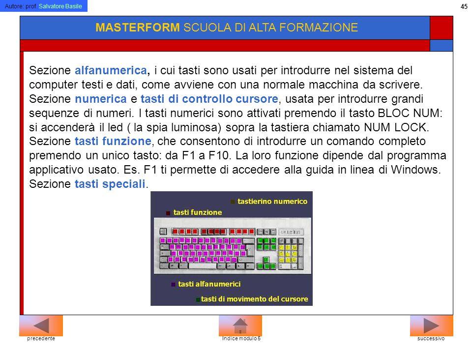 Autore: prof. Salvatore Basile 44 MASTERFORM SCUOLA DI ALTA FORMAZIONE successivoprecedenteIndice modulo 5 Poiché le tastiere devono adattarsi all'alf