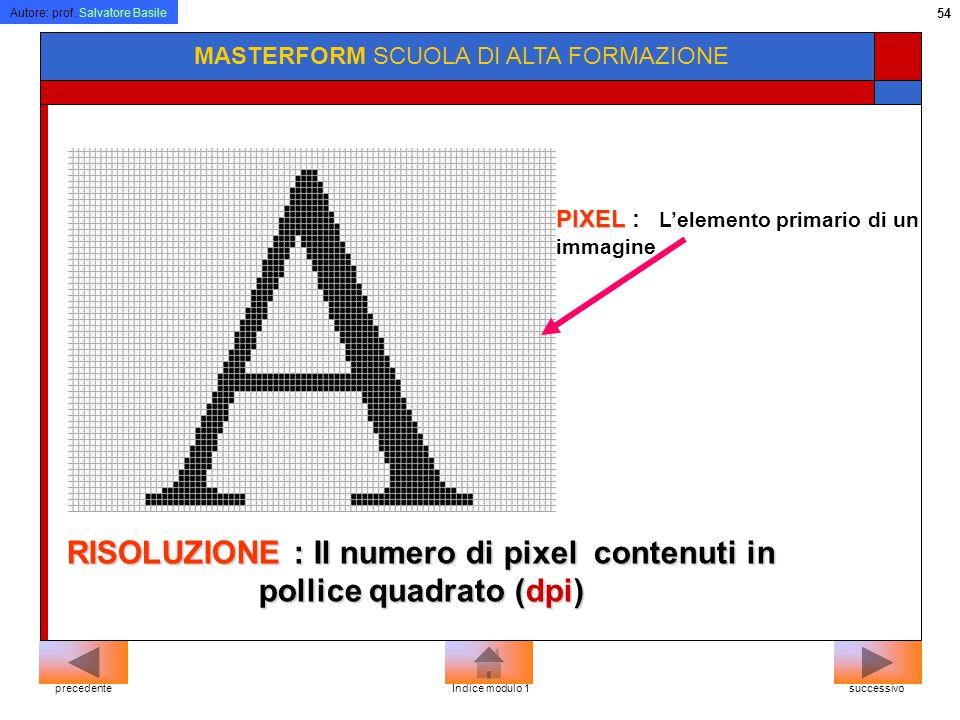 Autore: prof. Salvatore Basile 53 MASTERFORM SCUOLA DI ALTA FORMAZIONE Il monitor del computer visualizza le immagini dividendo lo schermo in migliaia