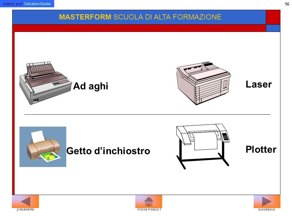 Autore: prof. Salvatore Basile 55 MASTERFORM SCUOLA DI ALTA FORMAZIONE La stampante E la periferica che permette di riportare su carta ciò che appare