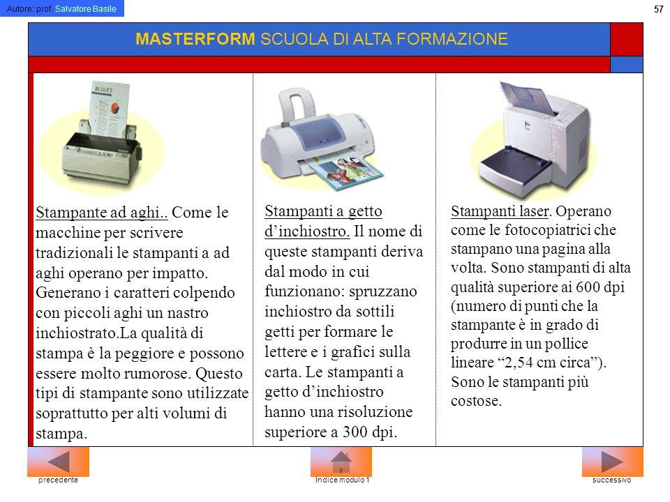 Autore: prof. Salvatore Basile 56 MASTERFORM SCUOLA DI ALTA FORMAZIONE Ad aghi Getto dinchiostro Laser Plotter successivoprecedenteIndice modulo 1