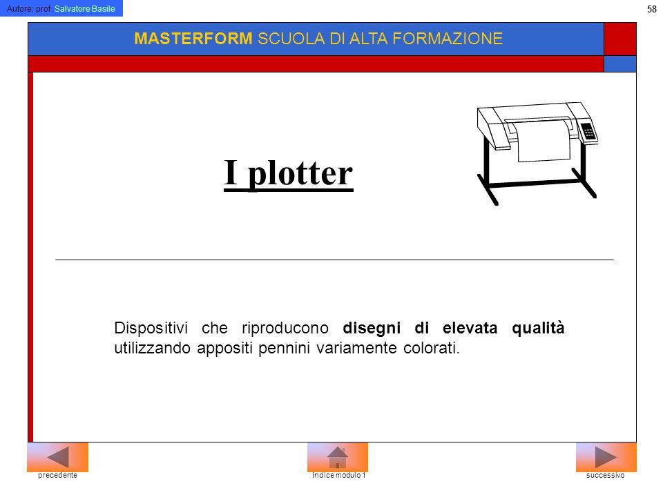 Autore: prof. Salvatore Basile 57 MASTERFORM SCUOLA DI ALTA FORMAZIONE Stampante ad aghi.. Come le macchine per scrivere tradizionali le stampanti a a