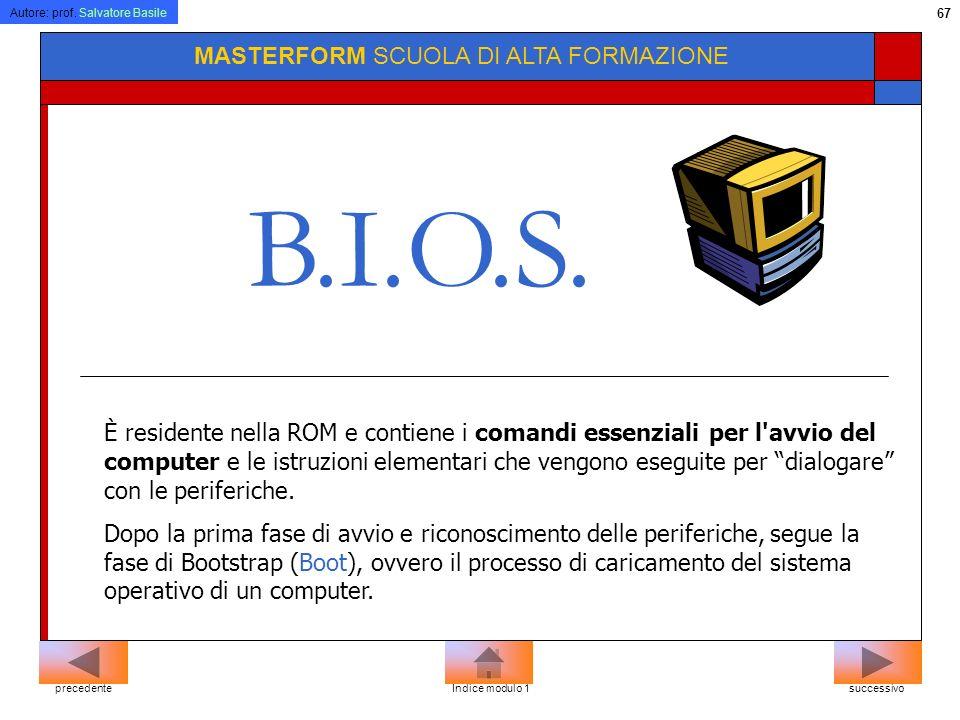 Autore: prof. Salvatore Basile 66 MASTERFORM SCUOLA DI ALTA FORMAZIONE Software di sistema Software di Base Bios Sistema Operativo successivoprecedent