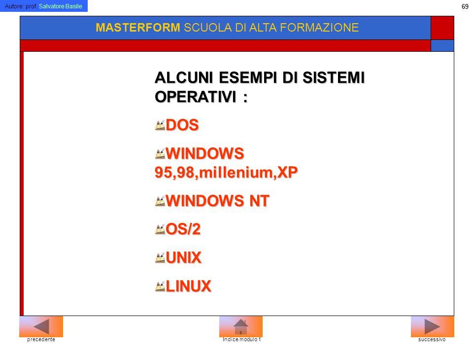 Autore: prof. Salvatore Basile 68 MASTERFORM SCUOLA DI ALTA FORMAZIONE Ogni computer funziona solo se è stato installato un sistema operativo. Il sist