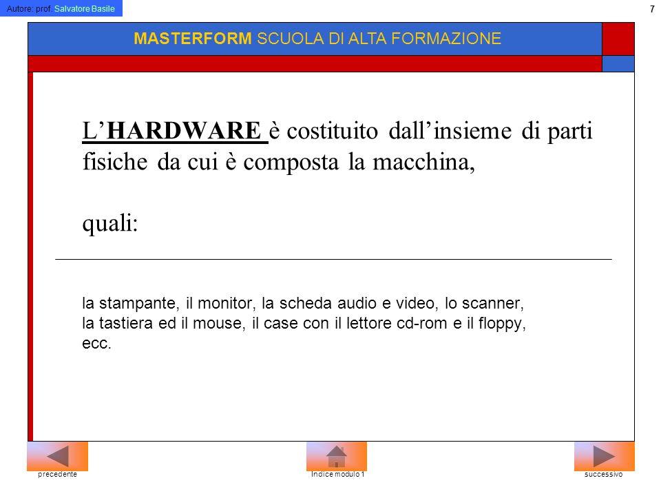 Autore: prof. Salvatore Basile 6 MASTERFORM SCUOLA DI ALTA FORMAZIONE Il computer è composto di due parti: Una materiale detta hardware e una immateri