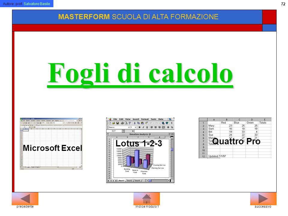 Autore: prof. Salvatore Basile 71 MASTERFORM SCUOLA DI ALTA FORMAZIONE Microsoft Word Word Perfect Lotus Word Pro Programmi di videoscrittura successi