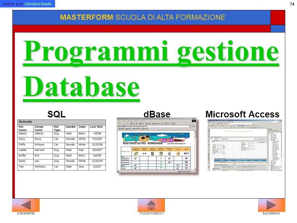 Autore: prof. Salvatore Basile 73 MASTERFORM SCUOLA DI ALTA FORMAZIONE Microsoft PowerPoint Lotus Freelance Programmi di presentazione successivoprece