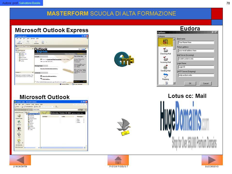 Autore: prof. Salvatore Basile 77 MASTERFORM SCUOLA DI ALTA FORMAZIONE Microsoft Internet ExplorerNetscape Navigator BROWSER successivoprecedenteIndic