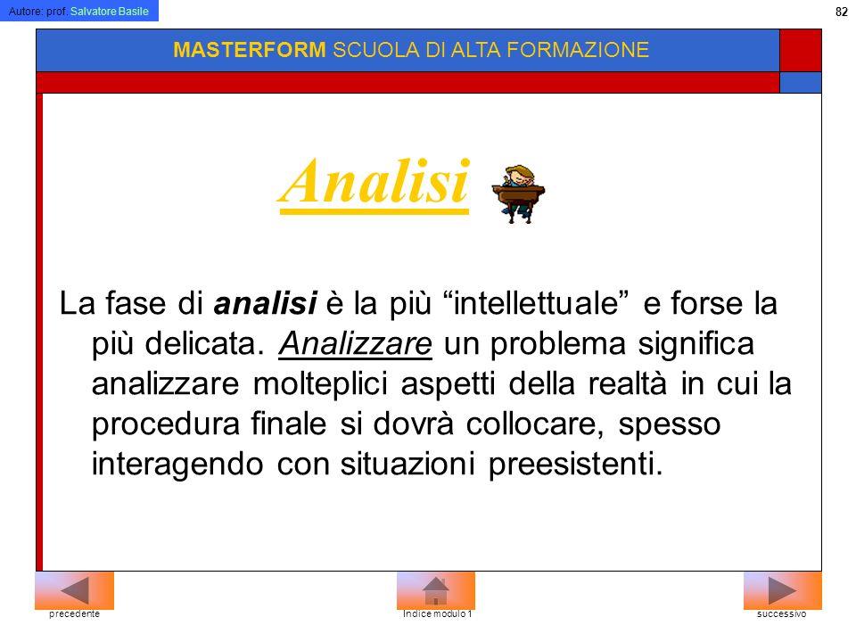 Autore: prof. Salvatore Basile 81 MASTERFORM SCUOLA DI ALTA FORMAZIONE Lo sviluppo del software Analisi Progettazione Realizzazione o implementazione