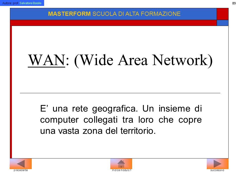 Autore: prof. Salvatore Basile 88 MASTERFORM SCUOLA DI ALTA FORMAZIONE LAN, WAN LAN: (Local Area Network) E una rete locale che permette lo scambio in