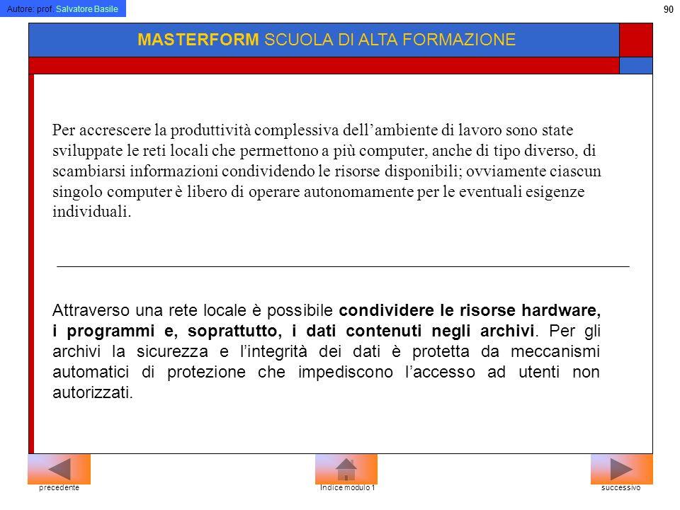 Autore: prof. Salvatore Basile 89 MASTERFORM SCUOLA DI ALTA FORMAZIONE WAN: (Wide Area Network) E una rete geografica. Un insieme di computer collegat