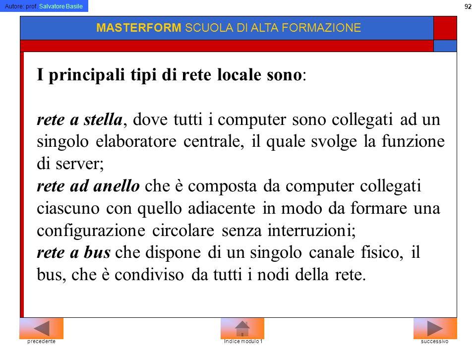Autore: prof. Salvatore Basile 91 MASTERFORM SCUOLA DI ALTA FORMAZIONE Per realizzare il collegamento in rete locale sono necessarie apposite schede h